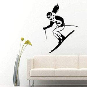 Sticker Mural Pvc Amovible Sticker Mural Chambre Gamer Fille Ski Sports D'Hiver Garçon Maternelle Garçon 56X38Cm