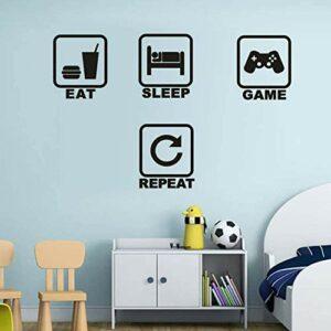 Stickers Muraux Gamer,Autocollants Muraux Eat Sleep Game Repeat,Stickers Mural Jeu Vidéo pour Garçons Chambre,DIY Amovible Vinyle Gamer Autocollant pour Salle de Jeux Chambre D'enfant Décoration