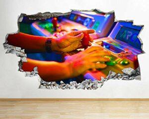 stickers muraux Gaming Arcade Retro Arcade Smashed Sticker Mural 3D Art Autocollants Vinyle Chambre stickers muraux chambre 70 * 100cm