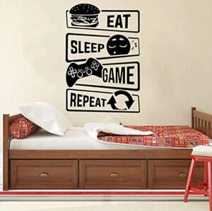 Stickers muraux Stickers Eat Sleep Game Repeat Gaming Zone Sticker mural Vinyle Art Chambre d'enfants Chambre Salle de jeux Stickers muraux Papier peint mural 42X61cm