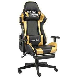 Tidyard Chaise de Jeu Pivotante avec Repose-Pied, Chaise de Bureau Pivotant, Fauteuil de Jeux Vidéo Fauteuil Gamer Doré PVC