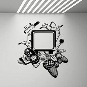 Vintage Computer Wall Art Decal Gamer Gaming Joysticks Cool Decor Vinyl Sticker Mural pour Garçons Chambre Décoration A9 57 × 63CM