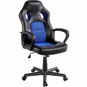 Yaheetech Chaise de Bureau Fauteuil Gaming Pivotant 150kg Dossier Haut Ergonomique, Hauteur Réglable, Inclinable, Siège Rembourré Bleu