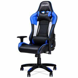 ZENEZ Chaise Gamers, Chaise de Bureau Ergonomique avec Support Lombaire de Massage et Coussin Cervical, Chaise Gaming Réglable à 180°en Cuir PU pour PC Gamers (Bleu)