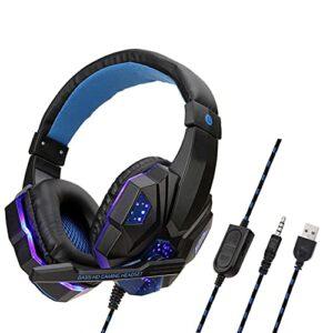 Zhou-YuXiang Casque de Jeu Professionnel à lumière LED pour PC pour PS4 Basse réglable stéréo PC Gamer sur l'oreille Casque Filaire avec Micro