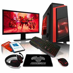AWD-IT Ensemble PC de Bureau de Jeu – APU AMD Ryzen 3 3200G 4,0 GHz/Radeon Vega 8 • Écran LED 22″ • Clavier et Souris Gamer • 8 Go • 1 to • Étui à LED Rouge • Windows 10