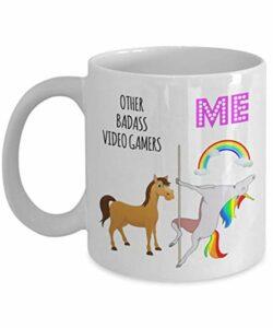 Badass vidéo Gamer licorne tasse drôle cadeau pour les amateurs de jeux cadeau d'anniversaire de noël idées pour fille fils meilleur ami BF adolescents tasse à café