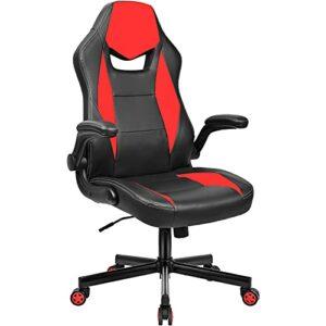 BASETBL Chaise de Bureau, Fauteuil Bureau Pivotante Ergonomique, Chaise Gaming en Cuir PU avec Accoudoir Rabattable, Hauteur Réglable (Rouge et Noir)