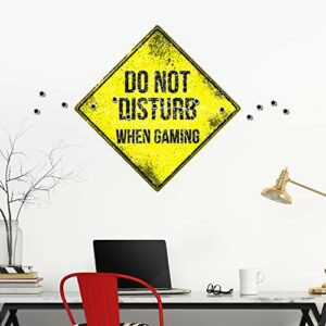 DesignDivil WP19 Sticker mural Motif Teenage Do Not Disturb When Gaming Gamer Cool Bullet Hole