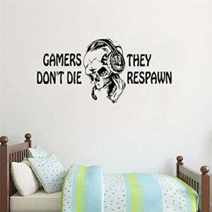 Les joueurs ne meurent pas, ils respawn Stickers muraux Cadeaux de jeux vidéo Enfants PS4 Xbox Gaming Quote Affiche Stickers Boys Room Playroom 49x85cm