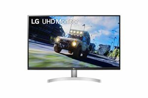 LG UltraFine 32UN500-W 32″ Moniteur UHD 4K 16/9e 3840×2160, VA 4ms 60Hz, HDR 10, DCI-P3 90% (AMD FreeSync, fonctionnalités gaming, haut-parleurs, inclinable) Blanc