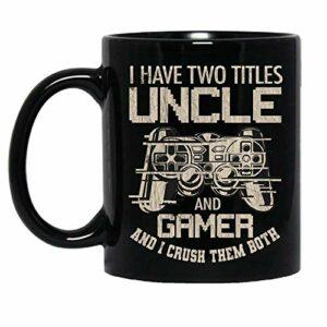 NA J'Ai Deux titres Oncle et Gamer et Je Les écrase Les Deux Jeux vidéo Tasse en céramique Tasses à café Graphiques Tasses Noires Dessus de thé Nouveauté personnalisée 11 Oz