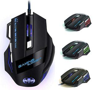 iAmotus Souris Gamer – USB Souris de Jeu [7200DPI] Deux Types DPI Ajustables,Filaire Optique Souris, Ergonomique Professionnelle Souris Gaming pour Windows, Vista, Linux, Mac OS, PC, Laptop
