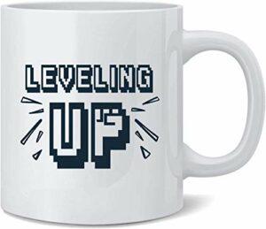 JS-BA Leveling Up Retro Video Gaming Gamer Ceramic Tasse de café Tasse de cafés Tea Cup Fun Novelty Gift 11oz