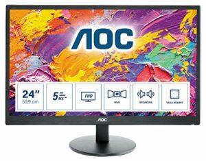 AOC Écran gamer MVA M2470SWH 59,9cm (23,6 pouces) (VGA, HDMI, temps de réponse de 5ms, 1920×1080, 60Hz) noir
