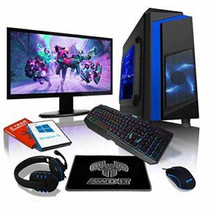 AWD-IT Ensemble Gaming PC – Processeur AMD A10 9700 à 4 cœurs • Écran LED 22″ • Clavier et Souris Gamer • 16 Go • 1 to • Étui à LED Bleue • WiFi • Windows 10