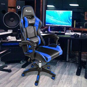 Chaise de gaming ergonomique – Chaise de bureau d'ordinateur – Chaise de course inclinable avec dossier haut – Chaise de jeu vidéo réglable pivotante avec appui-tête et soutien