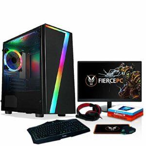 Fierce RGB Gaming PC Bundle – AMD Ryzen 3 3200G 4GHz, Carte Graphique AMD Vega 8, 16 Go 3200MHz, Disque Dur 1 to, Windows 10 installé, Clavier et Souris, Moniteur 24 Pouces, Casque de Jeu
