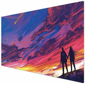 KINPLE Grand tapis de souris de jeu avec bords cousus (90 x 40 cm) XXL pour gamer, bureau et maison (90 x 40 ensemble001)
