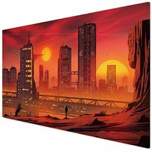 KINPLE Suncitydown002 Tapis de souris pour gamer, bureau et maison 90 x 40 cm