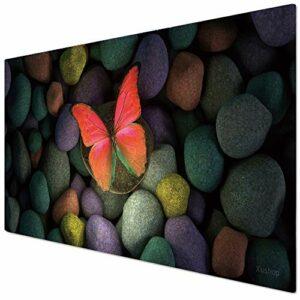 KINPLE Tapis de souris de jeu – Grand tapis de souris étendu avec bord cousu (90 x 40 cm) – XXL – Pour gamer, bureau et maison (90 x 40 Butterfly005)