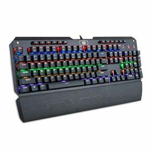 Redragon K555-R Clavier de jeu mécanique avec commutateurs bleus, enregistrement macro, repose-poignet, taille complète, Indrah, pour PC Windows Gamer (arc-en-ciel RGB LED rétroéclairé)