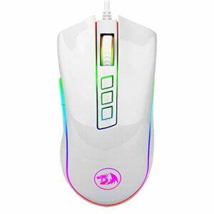 Redragon M711W Cobra White Souris Gaming avec câble maillé, 10000 dpi, RGB personnalisable, 8 boutons programmables, capteur Pixart P3325, commutateurs Omrom – Blanc