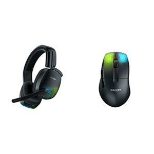 ROCCAT Syn Pro Air – Casque Gaming RGB Audio 3D sans-Fil Noir & Kone Pro Air – Souris de Jeu sans-Fil Ergonomique ultraperformante, Noir