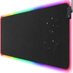 Tapis de souris RGB pour gamer, tapis de bureau, 80 x 30 cm, grande surface en caoutchouc antidérapant, imperméable, coutures résistantes, bords anti-rayures, noir