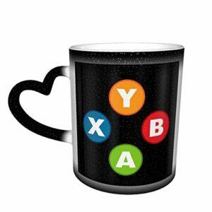 Tasse à café en céramique changeant de la chaleur, manette de jeu vidéo ronde pour gamer – Tasse magique pour café, thé, lait ou cacao – Cadeau fantaisie pour homme et femme