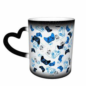 Tasse à café en céramique changeant la chaleur, jeu vidéo blanc et bleu, tasse à thé magique sensible pour café, thé, lait ou cacao, cadeau fantaisie pour homme et femme