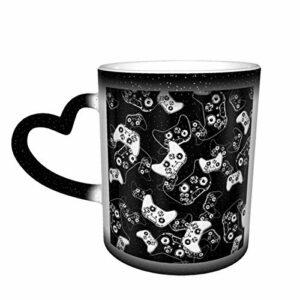 Tasse à café en céramique changeant la chaleur, jeu vidéo blanc sur noir, tasse à thé magique sensible pour café, thé, lait ou cacao, cadeau fantaisie pour homme et femme
