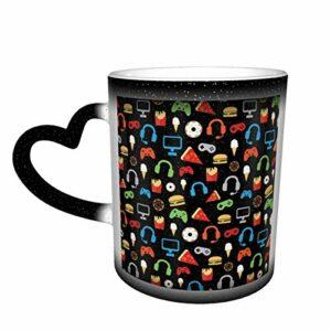Tasse à café en céramique changeant la chaleur, motif jeu vidéo, goûter, tasse à thé magique pour café, thé, lait ou cacao pour homme et femme